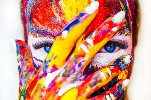 girl with paint on her face